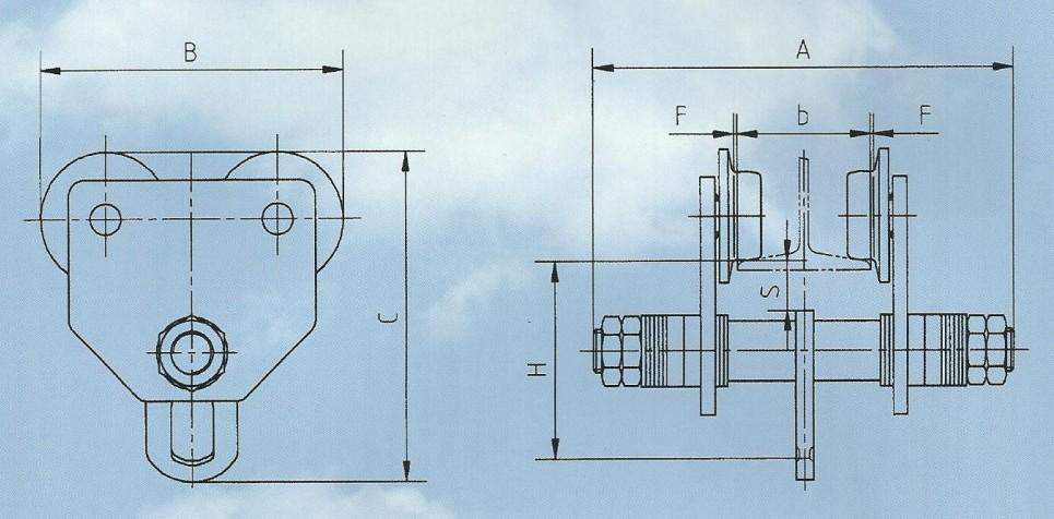 gct型手推单轨小车结构